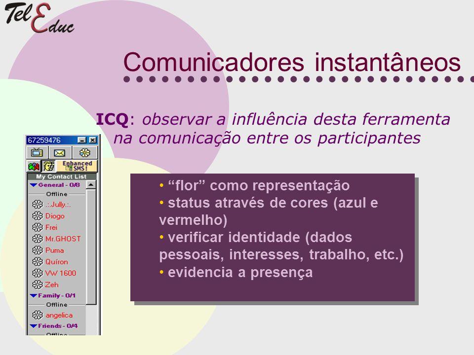 Comunicadores instantâneos flor como representação status através de cores (azul e vermelho) verificar identidade (dados pessoais, interesses, trabalh