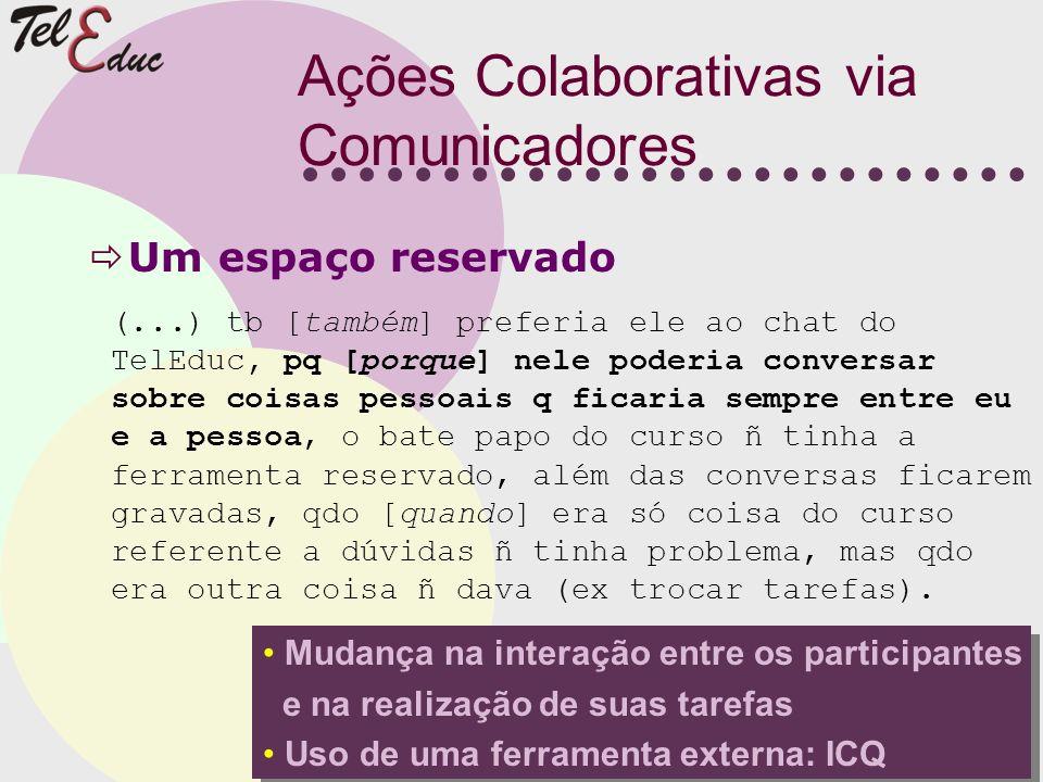 Ações Colaborativas via Comunicadores Um espaço reservado (...) tb [também] preferia ele ao chat do TelEduc, pq [porque] nele poderia conversar sobre