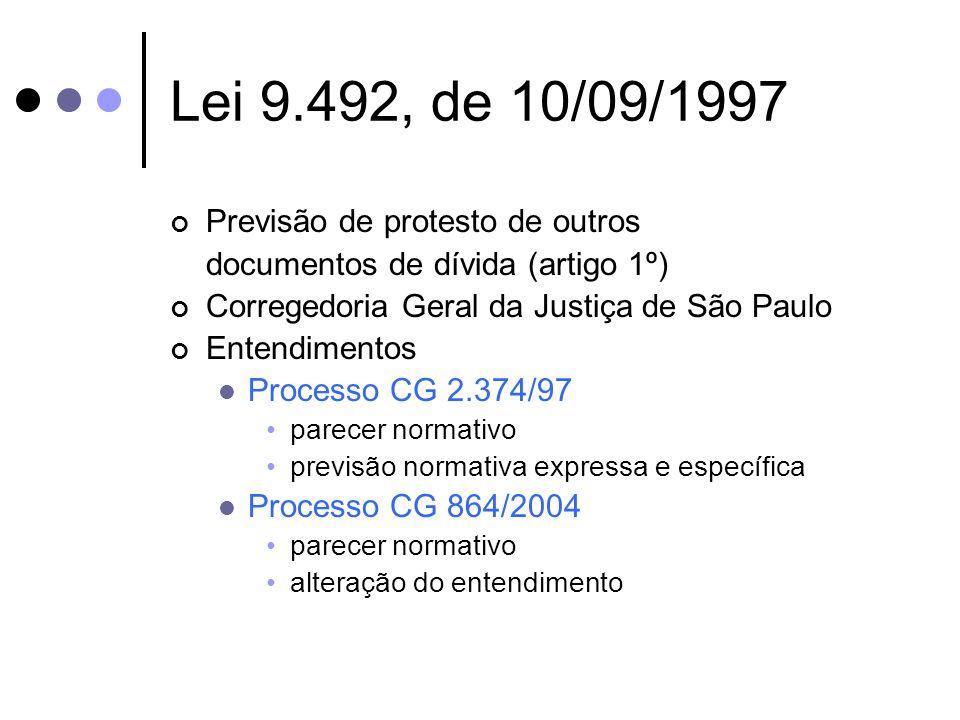 Lei 9.492, de 10/09/1997 Previsão de protesto de outros documentos de dívida (artigo 1º) Corregedoria Geral da Justiça de São Paulo Entendimentos Proc