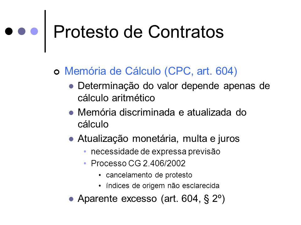 Protesto de Contratos Memória de Cálculo (CPC, art. 604) Determinação do valor depende apenas de cálculo aritmético Memória discriminada e atualizada