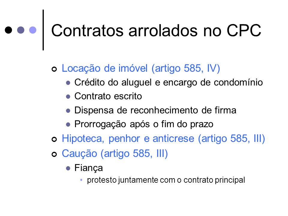 Contratos arrolados no CPC Locação de imóvel (artigo 585, IV) Crédito do aluguel e encargo de condomínio Contrato escrito Dispensa de reconhecimento d