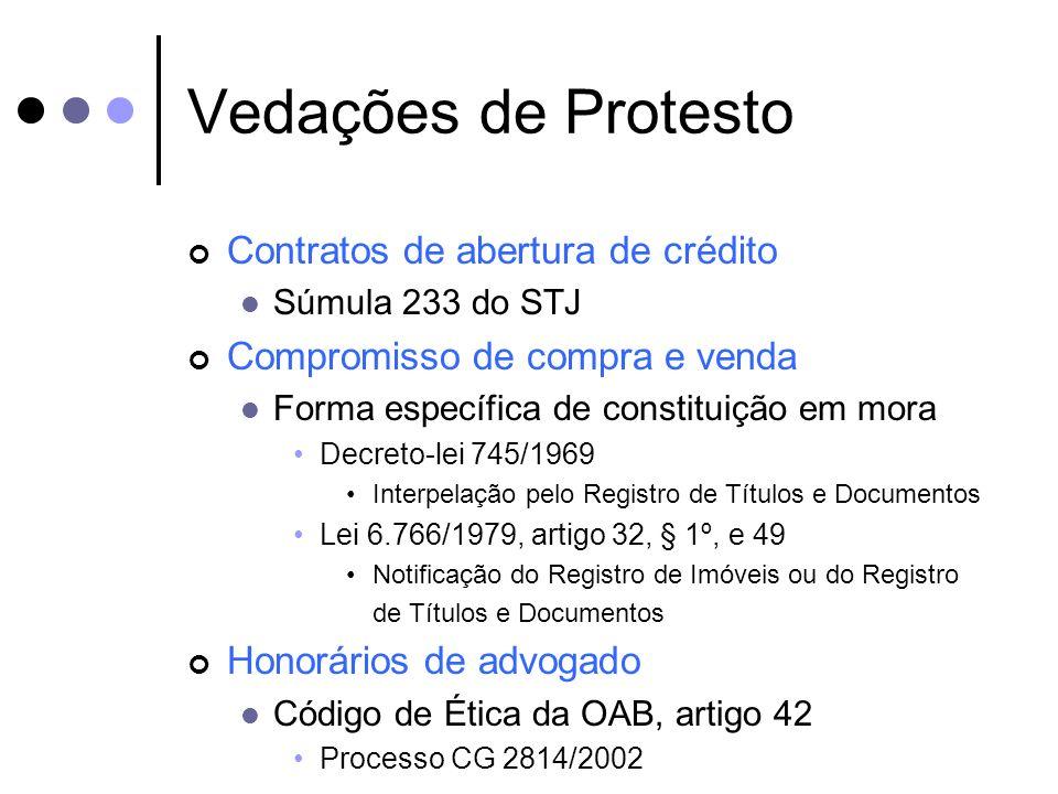 Vedações de Protesto Contratos de abertura de crédito Súmula 233 do STJ Compromisso de compra e venda Forma específica de constituição em mora Decreto