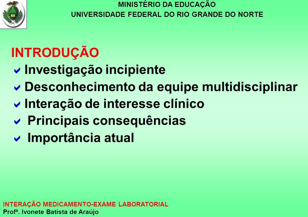 MINISTÉRIO DA EDUCAÇÃO UNIVERSIDADE FEDERAL DO RIO GRANDE DO NORTE INTERAÇÃO MEDICAMENTO-EXAME LABORATORIAL Profª. Ivonete Batista de Araújo INTRODUÇÃ