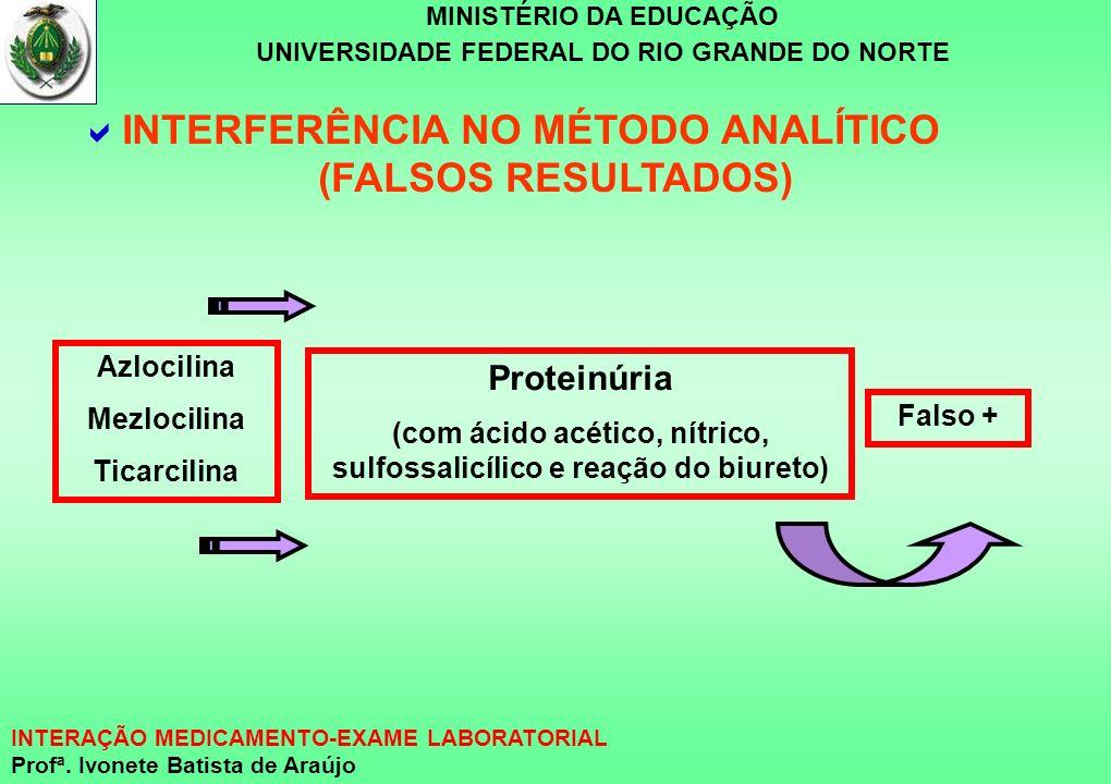 MINISTÉRIO DA EDUCAÇÃO UNIVERSIDADE FEDERAL DO RIO GRANDE DO NORTE INTERAÇÃO MEDICAMENTO-EXAME LABORATORIAL Profª. Ivonete Batista de Araújo Proteinúr