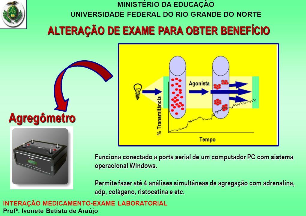 MINISTÉRIO DA EDUCAÇÃO UNIVERSIDADE FEDERAL DO RIO GRANDE DO NORTE INTERAÇÃO MEDICAMENTO-EXAME LABORATORIAL Profª. Ivonete Batista de Araújo ALTERAÇÃO