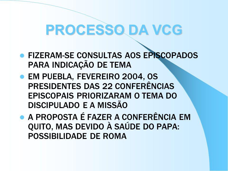 FIZERAM-SE CONSULTAS AOS EPISCOPADOS PARA INDICAÇÃO DE TEMA EM PUEBLA, FEVEREIRO 2004, OS PRESIDENTES DAS 22 CONFERÊNCIAS EPISCOPAIS PRIORIZARAM O TEM