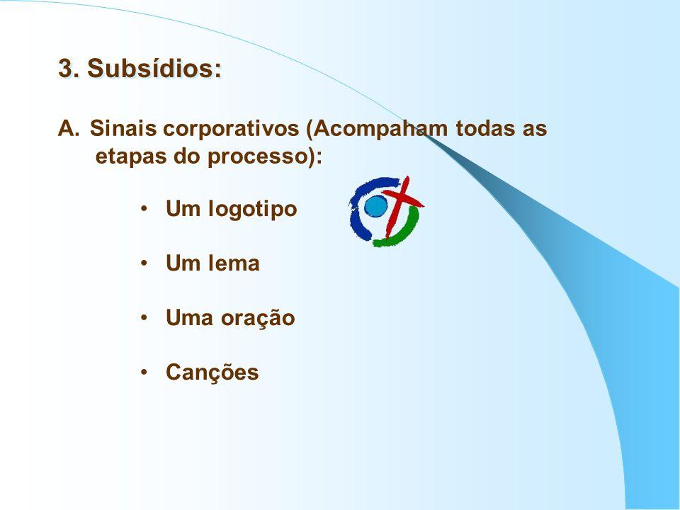 3. Subsídios: A. Sinais corporativos (Acompaham todas as etapas do processo): Um logotipo Um lema Uma oração Canções