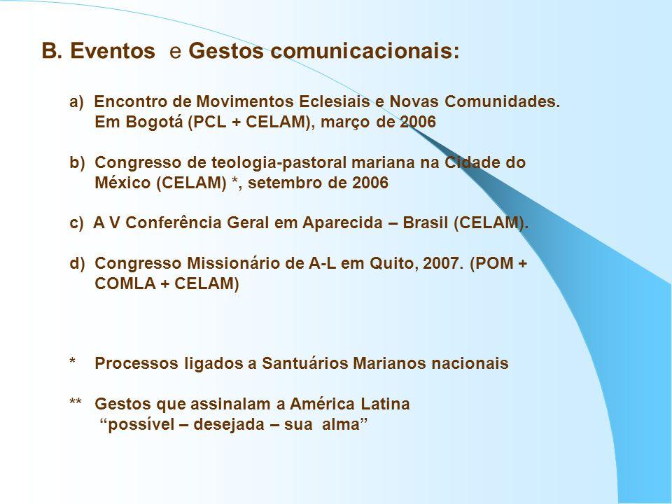 a) Encontro de Movimentos Eclesiais e Novas Comunidades. Em Bogotá (PCL + CELAM), março de 2006 b) Congresso de teologia-pastoral mariana na Cidade do