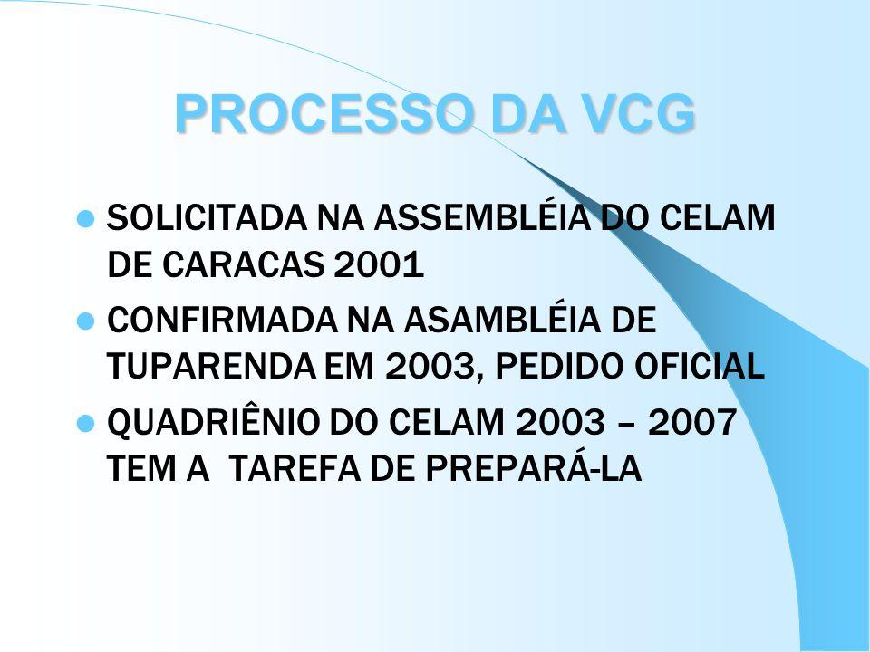 PROCESSO DA VCG SOLICITADA NA ASSEMBLÉIA DO CELAM DE CARACAS 2001 CONFIRMADA NA ASAMBLÉIA DE TUPARENDA EM 2003, PEDIDO OFICIAL QUADRIÊNIO DO CELAM 200