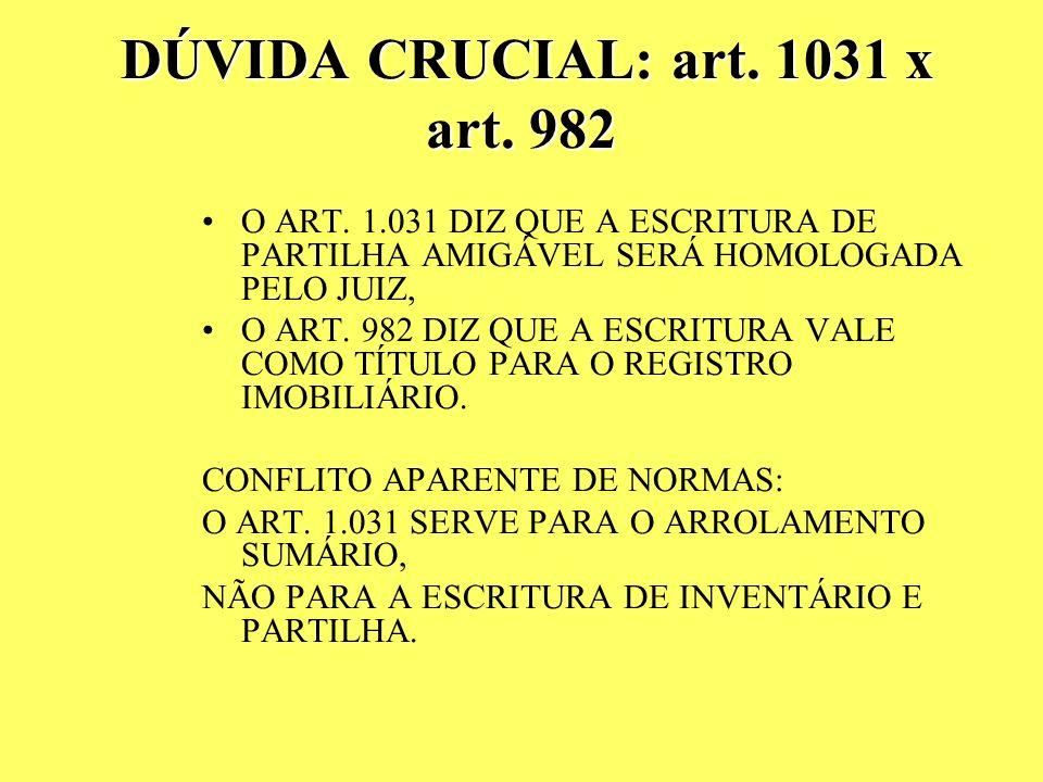A AA ARROLAMENTO SUMÁRIO ALTERAÇÃO NO CPC: ART. 1.031: ARROLAMENTO SUMÁRIO MEDIANTE PARTILHA AMIGÁVEL, NA FORMA DO ART. 2.015 DO CC, SUJEITA A HOMOLOG