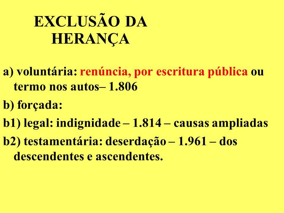 HERDEIROS NECESSÁRIOS CC DE 2002 – art. 1.845: Descendentes, Ascendentes, Cônjuge DIREITO À LEGÍTIMA (1/2 da herança) – arts. 1.789 e 1.846