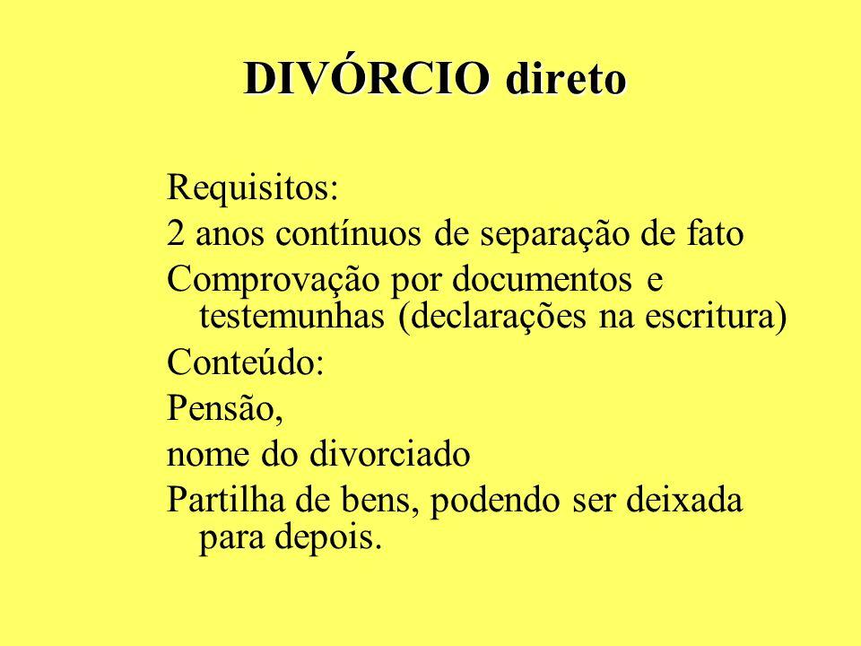 CONTEÚDO DA SEPARAÇÃO Possível dissolução da sociedade conjugal, Dispensa da pensão ou reserva para ação própria, Partilha deixada para depois, mas co