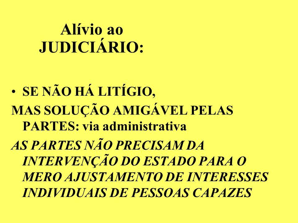 Alívio ao JUDICIÁRIO: SE NÃO HÁ LITÍGIO, MAS SOLUÇÃO AMIGÁVEL PELAS PARTES: via administrativa AS PARTES NÃO PRECISAM DA INTERVENÇÃO DO ESTADO PARA O MERO AJUSTAMENTO DE INTERESSES INDIVIDUAIS DE PESSOAS CAPAZES