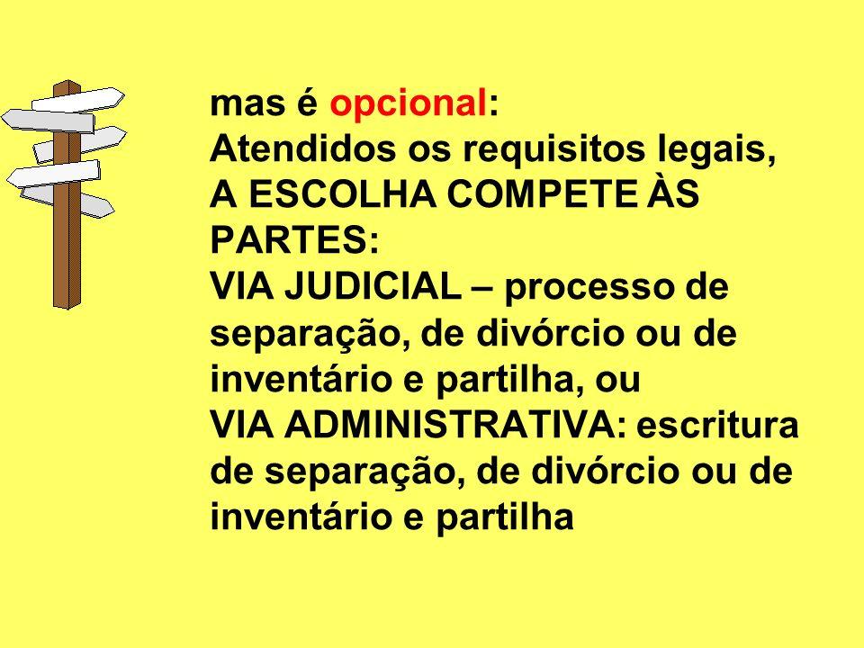 Alívio ao JUDICIÁRIO: SE NÃO HÁ LITÍGIO, MAS SOLUÇÃO AMIGÁVEL PELAS PARTES: via administrativa AS PARTES NÃO PRECISAM DA INTERVENÇÃO DO ESTADO PARA O
