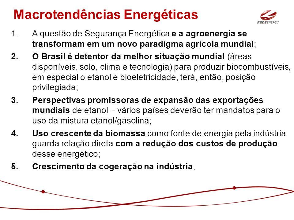 1.A questão de Segurança Energética e a agroenergia se transformam em um novo paradigma agrícola mundial; 2.O Brasil é detentor da melhor situação mun