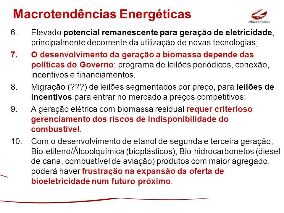 6.Elevado potencial remanescente para geração de eletricidade, principalmente decorrente da utilização de novas tecnologias; 7.O desenvolvimento da ge
