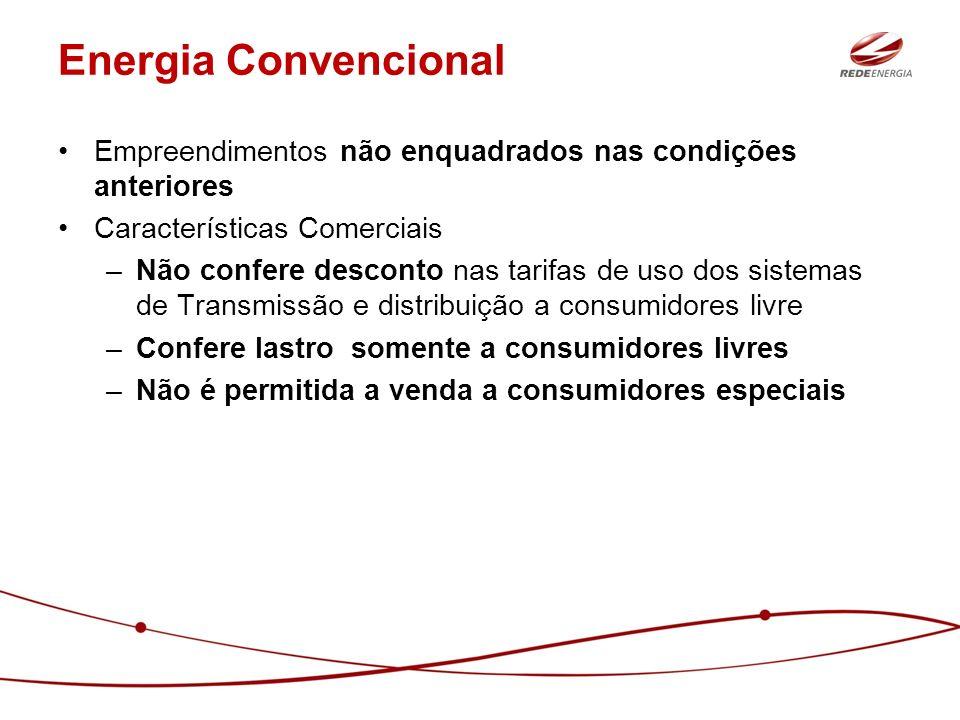 Energia Convencional Empreendimentos não enquadrados nas condições anteriores Características Comerciais –Não confere desconto nas tarifas de uso dos