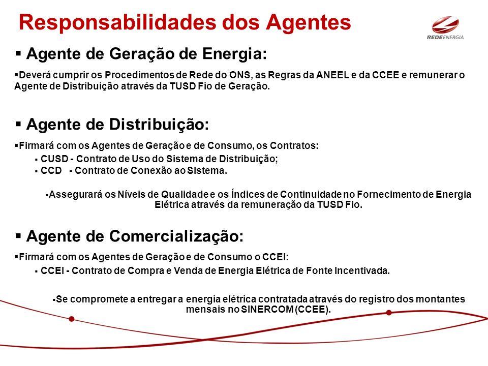 Responsabilidades dos Agentes Agente de Geração de Energia: Deverá cumprir os Procedimentos de Rede do ONS, as Regras da ANEEL e da CCEE e remunerar o