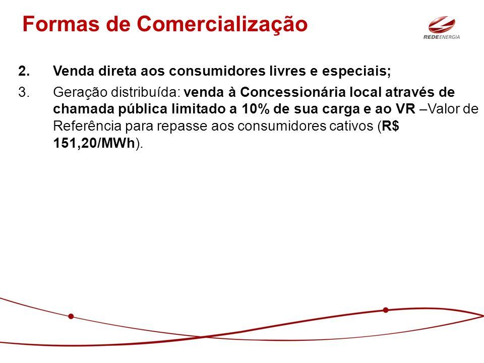 2.Venda direta aos consumidores livres e especiais; 3.Geração distribuída: venda à Concessionária local através de chamada pública limitado a 10% de s