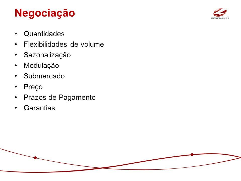 Negociação Quantidades Flexibilidades de volume Sazonalização Modulação Submercado Preço Prazos de Pagamento Garantias