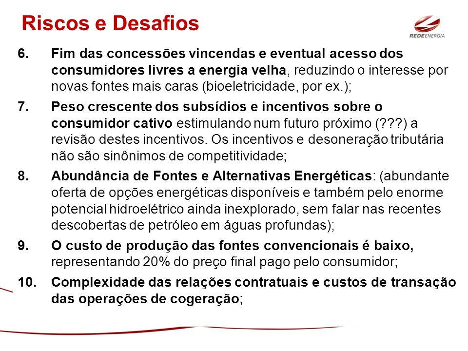 6.Fim das concessões vincendas e eventual acesso dos consumidores livres a energia velha, reduzindo o interesse por novas fontes mais caras (bioeletri
