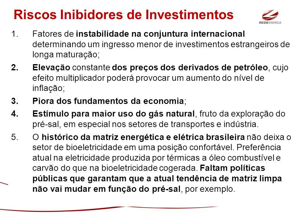 1.Fatores de instabilidade na conjuntura internacional determinando um ingresso menor de investimentos estrangeiros de longa maturação; 2.Elevação con