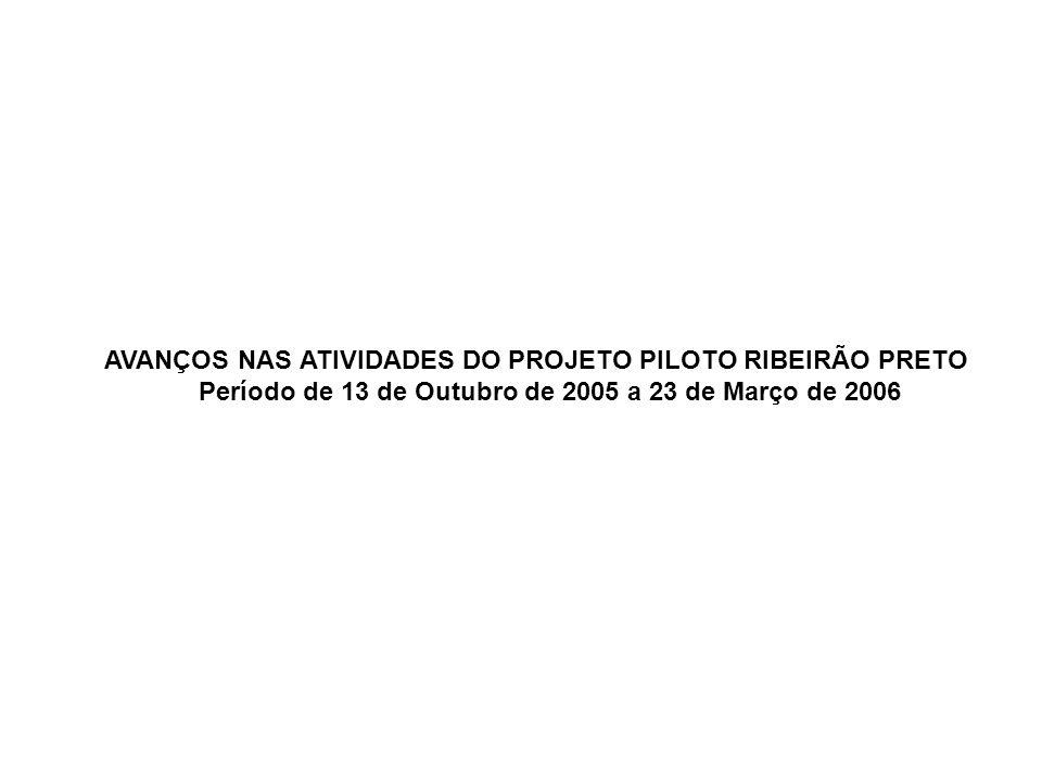 AVANÇOS NAS ATIVIDADES DO PROJETO PILOTO RIBEIRÃO PRETO Período de 13 de Outubro de 2005 a 23 de Março de 2006