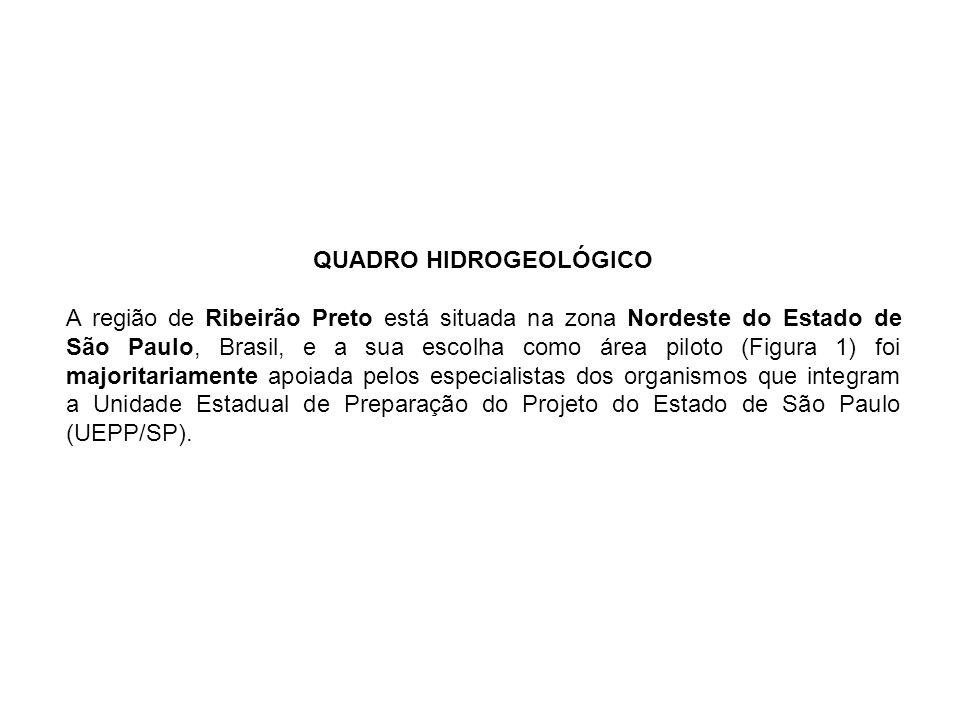 QUADRO HIDROGEOLÓGICO A região de Ribeirão Preto está situada na zona Nordeste do Estado de São Paulo, Brasil, e a sua escolha como área piloto (Figur