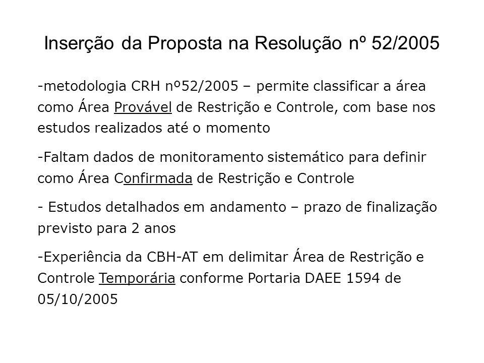 Inserção da Proposta na Resolução nº 52/2005 -metodologia CRH nº52/2005 – permite classificar a área como Área Provável de Restrição e Controle, com b