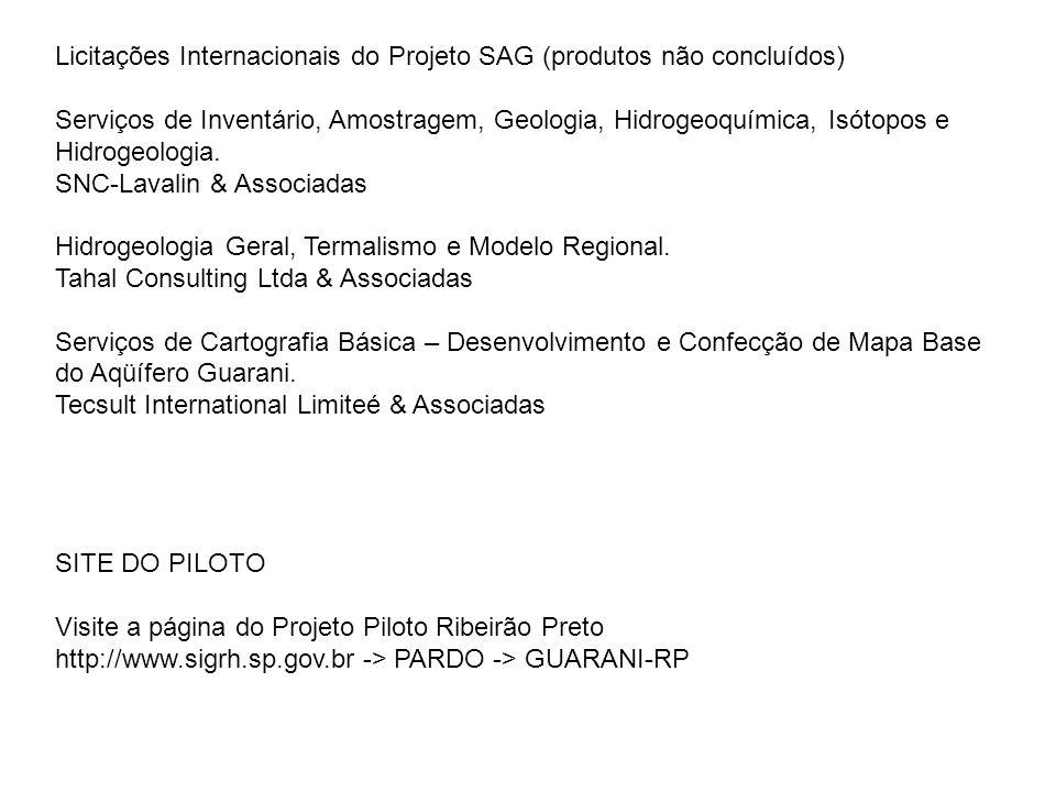 Licitações Internacionais do Projeto SAG (produtos não concluídos) Serviços de Inventário, Amostragem, Geologia, Hidrogeoquímica, Isótopos e Hidrogeol