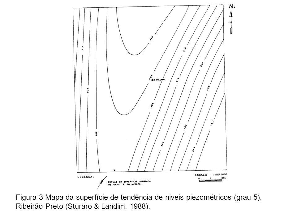 Este comportamento está muito bem caracterizado no mapa de resíduos (Figura 4) onde se observa uma faixa de Sudoeste para Nordeste, com valores negativos indicando locais abaixo da superfície piezométrica.
