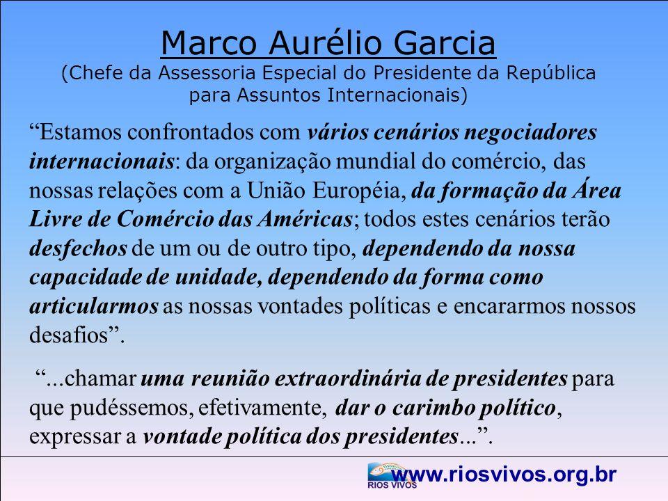 www.riosvivos.org.br Marco Aurélio Garcia (Chefe da Assessoria Especial do Presidente da República para Assuntos Internacionais) Estamos confrontados