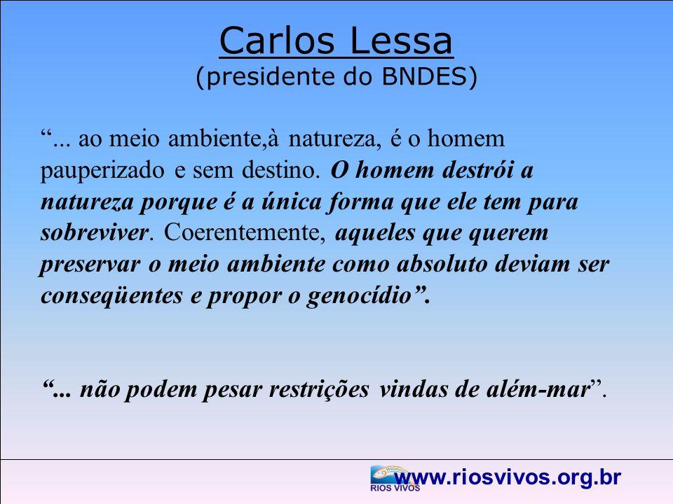 www.riosvivos.org.br Carlos Lessa (presidente do BNDES)... ao meio ambiente,à natureza, é o homem pauperizado e sem destino. O homem destrói a naturez