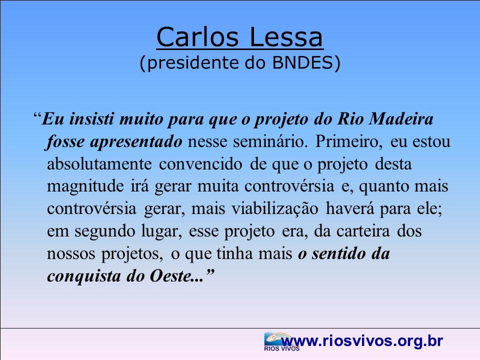 www.riosvivos.org.br Carlos Lessa (presidente do BNDES) Eu insisti muito para que o projeto do Rio Madeira fosse apresentado nesse seminário. Primeiro