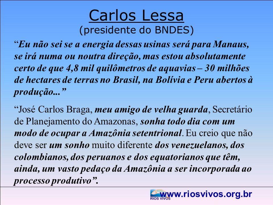 www.riosvivos.org.br Carlos Lessa (presidente do BNDES) Eu não sei se a energia dessas usinas será para Manaus, se irá numa ou noutra direção, mas est