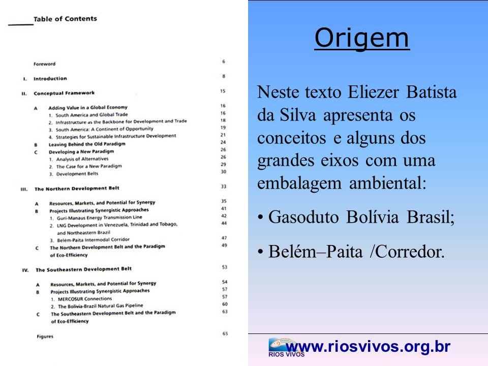 www.riosvivos.org.br Origem Neste texto Eliezer Batista da Silva apresenta os conceitos e alguns dos grandes eixos com uma embalagem ambiental: Gasodu