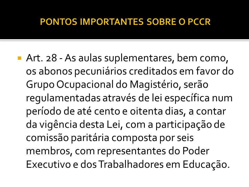 Art. 28 - As aulas suplementares, bem como, os abonos pecuniários creditados em favor do Grupo Ocupacional do Magistério, serão regulamentadas através