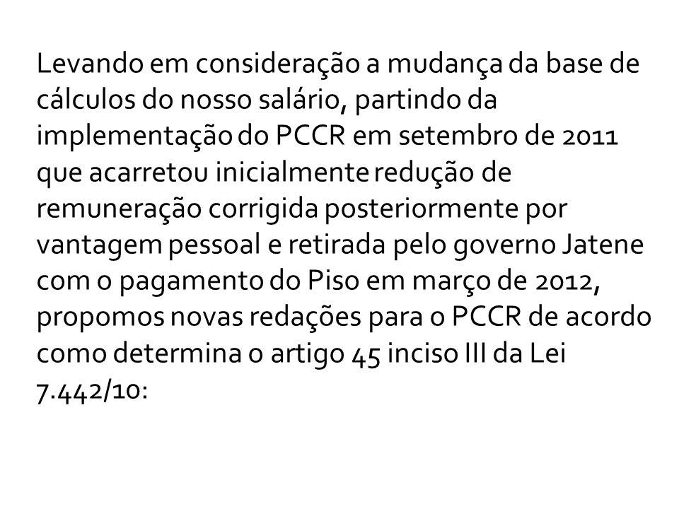 Levando em consideração a mudança da base de cálculos do nosso salário, partindo da implementação do PCCR em setembro de 2011 que acarretou inicialmen