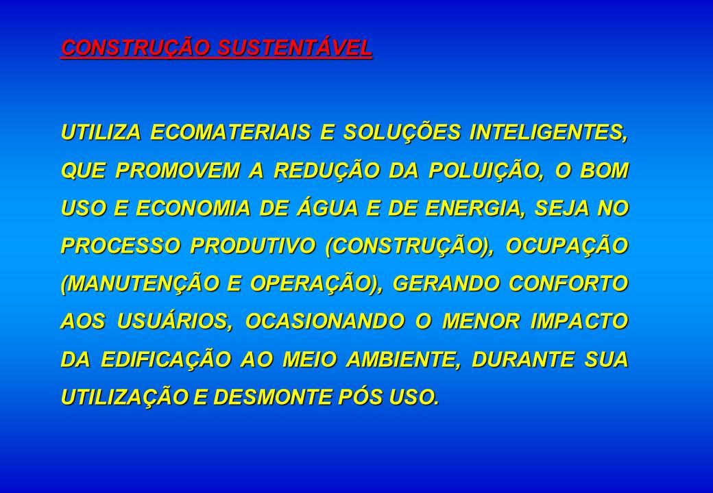 CONSTRUÇÃO SUSTENTÁVEL UTILIZA ECOMATERIAIS E SOLUÇÕES INTELIGENTES, QUE PROMOVEM A REDUÇÃO DA POLUIÇÃO, O BOM USO E ECONOMIA DE ÁGUA E DE ENERGIA, SE