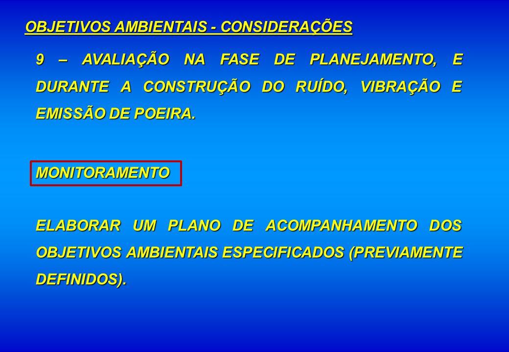 9 – AVALIAÇÃO NA FASE DE PLANEJAMENTO, E DURANTE A CONSTRUÇÃO DO RUÍDO, VIBRAÇÃO E EMISSÃO DE POEIRA. MONITORAMENTO ELABORAR UM PLANO DE ACOMPANHAMENT