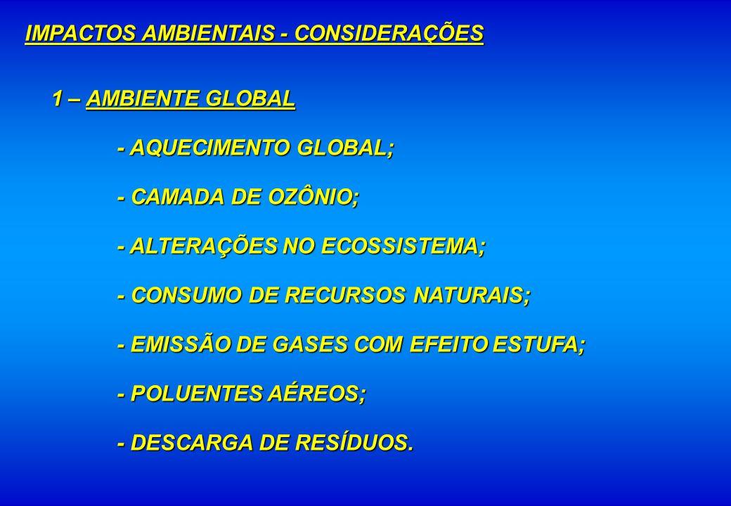 1 – AMBIENTE GLOBAL - AQUECIMENTO GLOBAL; - CAMADA DE OZÔNIO; - ALTERAÇÕES NO ECOSSISTEMA; - CONSUMO DE RECURSOS NATURAIS; - EMISSÃO DE GASES COM EFEI