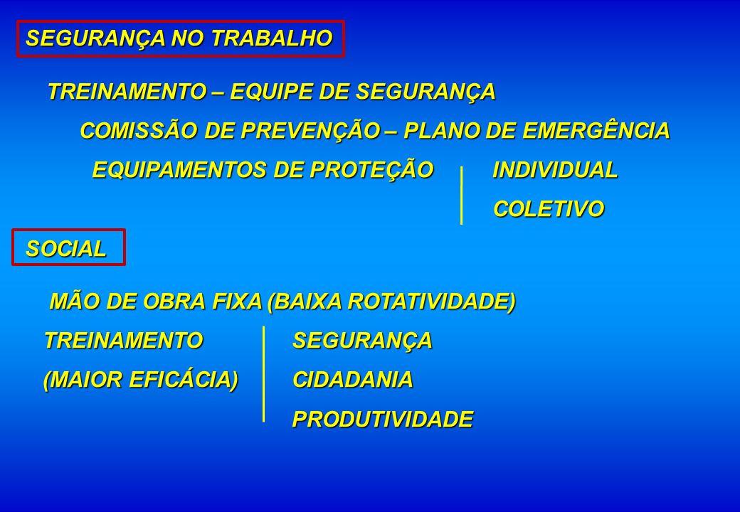 SEGURANÇA NO TRABALHO TREINAMENTO – EQUIPE DE SEGURANÇA TREINAMENTO – EQUIPE DE SEGURANÇA COMISSÃO DE PREVENÇÃO – PLANO DE EMERGÊNCIA COMISSÃO DE PREV