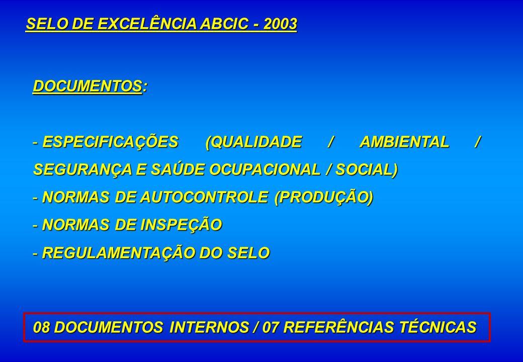DOCUMENTOS: - ESPECIFICAÇÕES (QUALIDADE / AMBIENTAL / SEGURANÇA E SAÚDE OCUPACIONAL / SOCIAL) - NORMAS DE AUTOCONTROLE (PRODUÇÃO) - NORMAS DE INSPEÇÃO