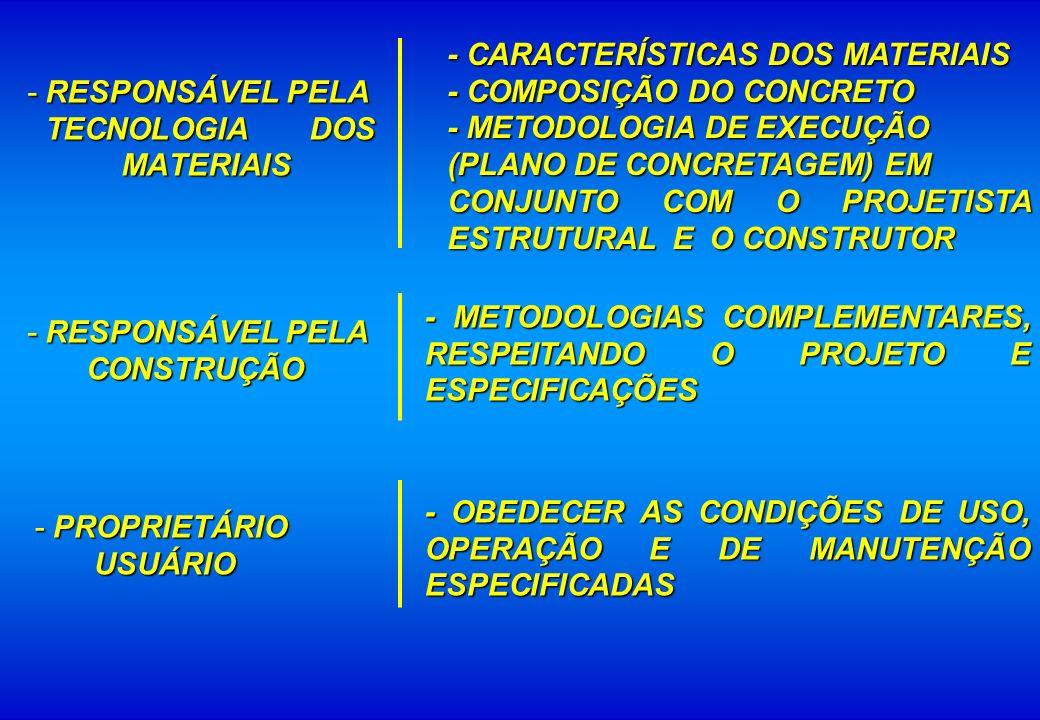 - CARACTERÍSTICAS DOS MATERIAIS - COMPOSIÇÃO DO CONCRETO - METODOLOGIA DE EXECUÇÃO (PLANO DE CONCRETAGEM) EM CONJUNTO COM O PROJETISTA ESTRUTURAL E O