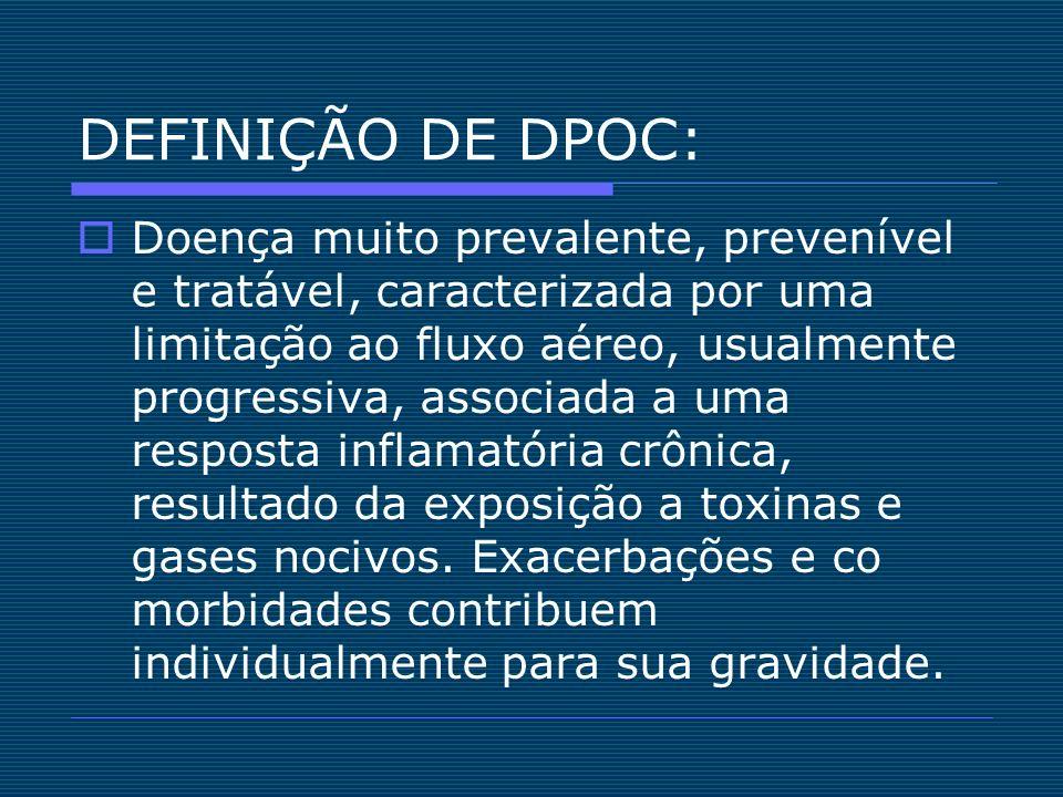 DEFINIÇÃO DE DPOC: Doença muito prevalente, prevenível e tratável, caracterizada por uma limitação ao fluxo aéreo, usualmente progressiva, associada a