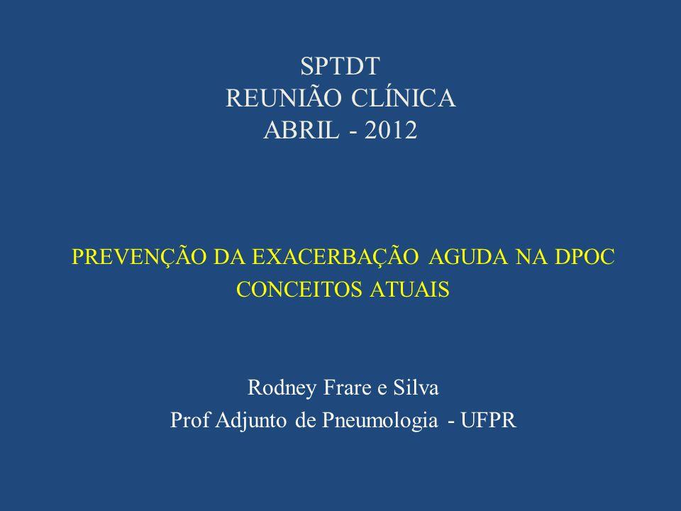 SPTDT REUNIÃO CLÍNICA ABRIL - 2012 PREVENÇÃO DA EXACERBAÇÃO AGUDA NA DPOC CONCEITOS ATUAIS Rodney Frare e Silva Prof Adjunto de Pneumologia - UFPR