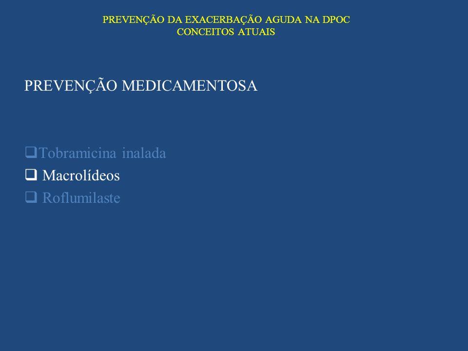 PREVENÇÃO DA EXACERBAÇÃO AGUDA NA DPOC CONCEITOS ATUAIS PREVENÇÃO MEDICAMENTOSA Tobramicina inalada Macrolídeos Roflumilaste