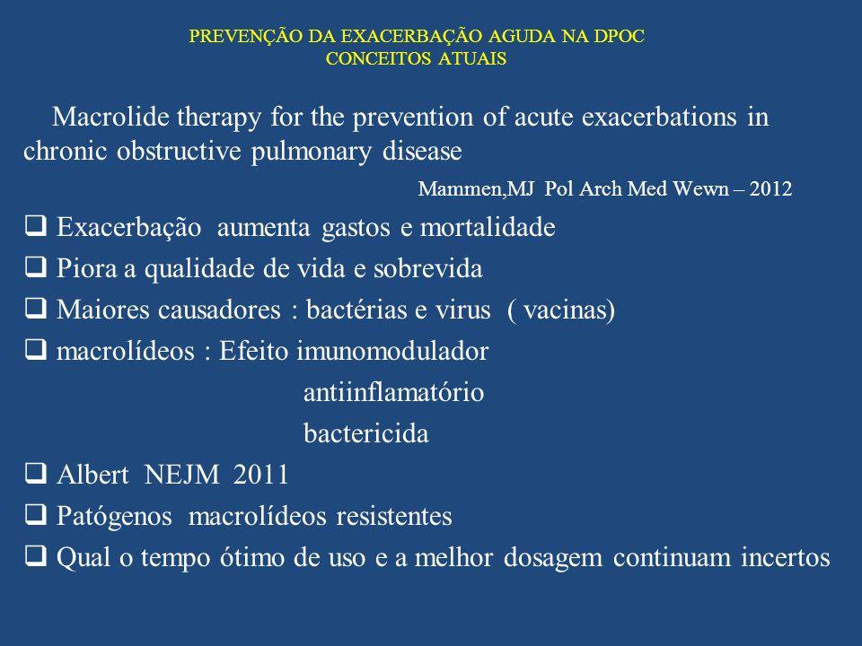 PREVENÇÃO DA EXACERBAÇÃO AGUDA NA DPOC CONCEITOS ATUAIS Macrolide therapy for the prevention of acute exacerbations in chronic obstructive pulmonary d