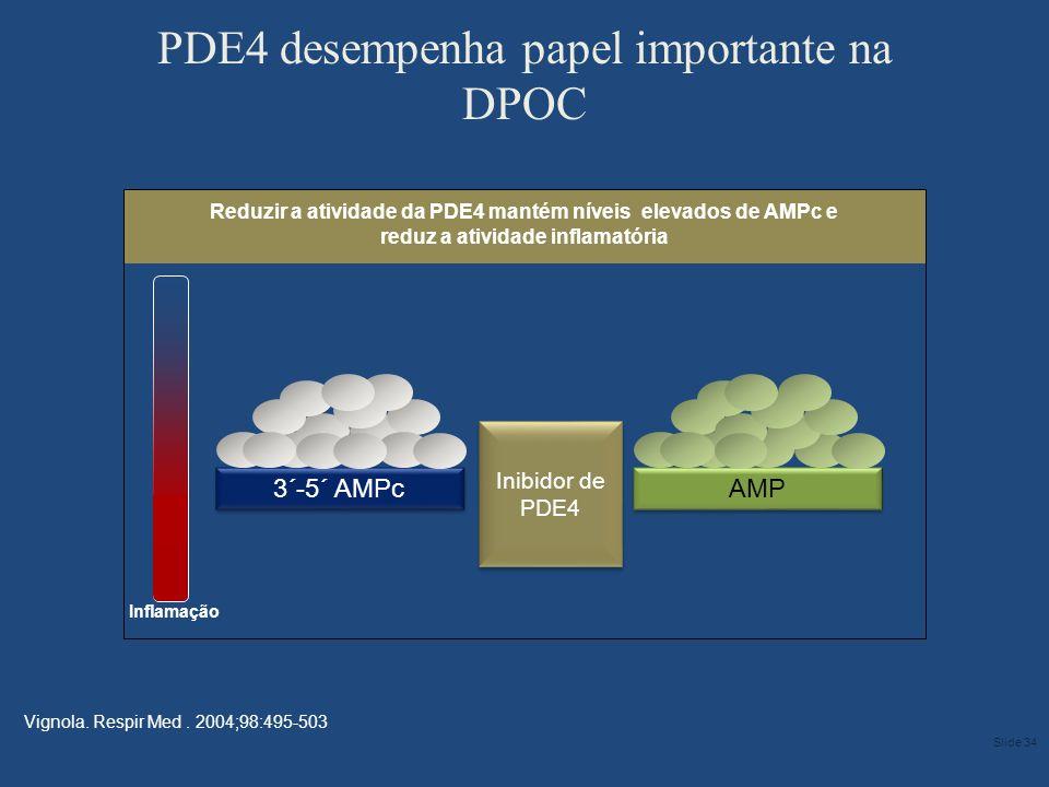 3´-5´ AMPc Reduzir a atividade da PDE4 mantém níveis elevados de AMPc e reduz a atividade inflamatória PDE4 desempenha papel importante na DPOC Vignol