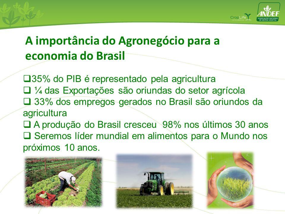 A importância do Agronegócio para a economia do Brasil 35% do PIB é representado pela agricultura ¼ das Exportações são oriundas do setor agrícola 33%